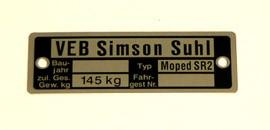 Typenschild Simson SR2