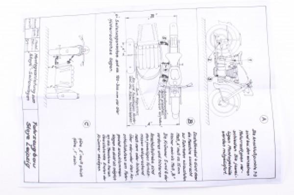 Faltblatt mit Einstelldaten und Skizze für 3-Punkt-Fahrgestell (AWO, BK, EMW)