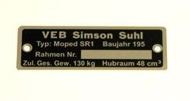 Typenschild Simson SR1