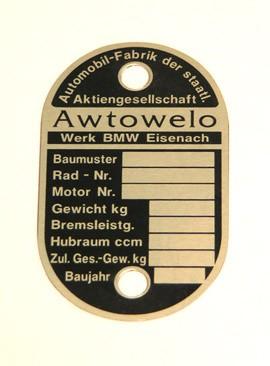 Typenschild Awtowelo -EMW und BMW