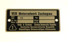 Typenschild MZ-ES/ ETS/ TS/ ETZ