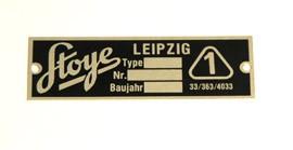 Typenschild Stoye-Seitenwagen